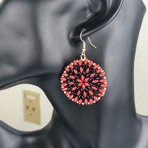 Red  black y gold  seed beads Earrings
